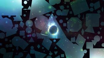 Outer space stars planets shapes art triangles wallpaper