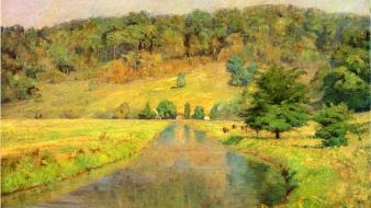 Paintings landscapes trees fields artwork theodore clement steele wallpaper