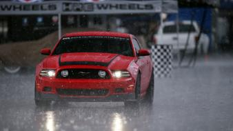 Red rain cars ford mustang shelby gt350 races wallpaper