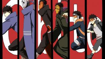 Running uchiha obito tobi panels red background wallpaper
