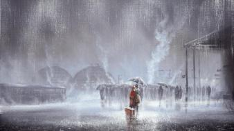 Stations sorrow embrace umbrellas suitcase jeff rowland wallpaper