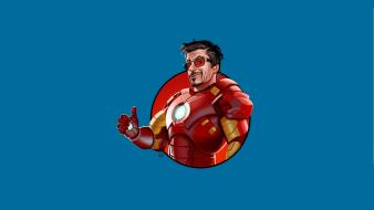 Sunglasses tony stark thumbs up blue background Wallpaper