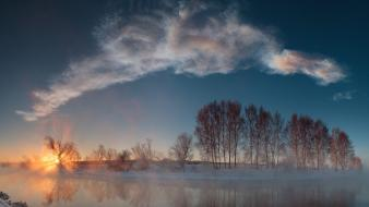 Sunrise clouds winter trees fog rivers reflexion wallpaper