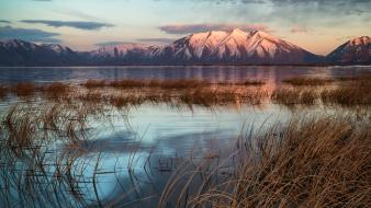 Sunset mountains landscapes nature utah lakes snowy peaks wallpaper