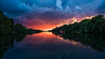 Sunset nature forest lakes lightning view wallpaper