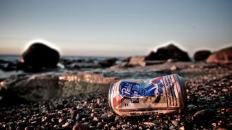 Trash pebbles pabst blue ribbon soda cans wallpaper