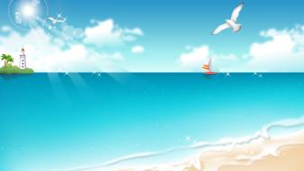 Tropical beach cartoon Wallpaper