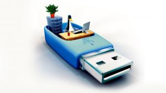 Usb office 3d stick wallpaper