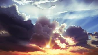 Abstract clouds rays sky wallpaper