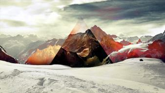Abstract mountains snow galaxies triangles wallpaper