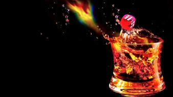 Artwork drinks whisky black background splashes drops wallpaper