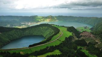 Azores portugal blue clouds crater Wallpaper