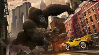 Bananas cars cartoons cities cityscapes Wallpaper