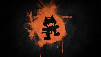 Black music orange logos simple monstercat desing electronic wallpaper