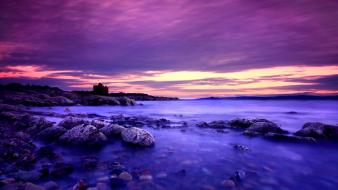 Blue clouds landscapes nature violet wallpaper