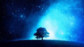 Blue skies galaxies stars trees wallpaper