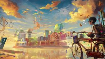 Boy bike music fantasy art wallpaper