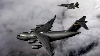 C-17 globemaster f-15e eagle mcdonnell douglas clouds wallpaper