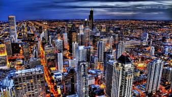 Chicago city lights cityscapes skyline skyscrapers wallpaper