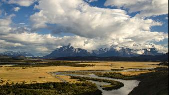 Chile patagonia blue clouds grass wallpaper