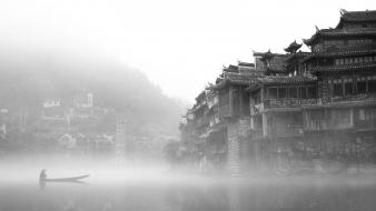 China fog mist boats castle man made wallpaper