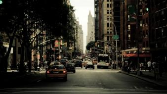 Cityscapes streets cars urban new york city wallpaper