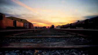 Clouds dawn railroads railroad tracks railways wallpaper