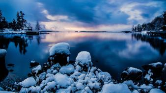 Cold winter stockholm sweden blue calm Wallpaper