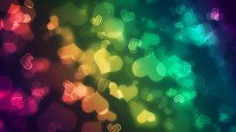 Colorful love hearts wallpaper