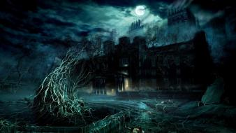 Dark darkness digital art haunted house horror Wallpaper