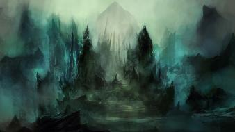 Dark paths fog mist stairways fantasy art tombs wallpaper