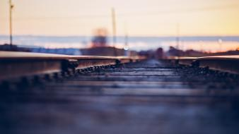 Depth of field ground hardscapes railroads railroad tracks wallpaper