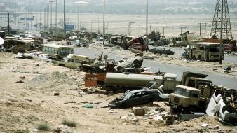 Desert storm highway of death iraq army war wallpaper