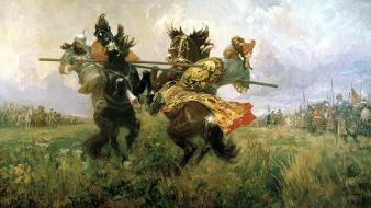 Duel battles historic traditional art avilov mikhail wallpaper