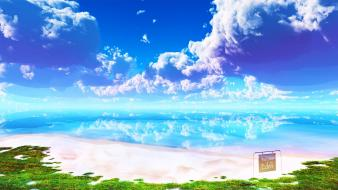 Eden beaches clouds grass landscapes wallpaper