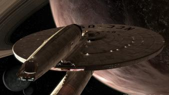 Enterprise star trek outer space science fiction spaceships wallpaper