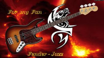 Fender fire flames guitars jazz Wallpaper