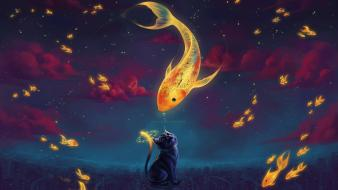 Fish clocks surreal goldfish artwork night sky wallpaper