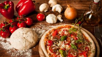 Food pizza mushrooms garlic onions tomatoes bell peppers wallpaper
