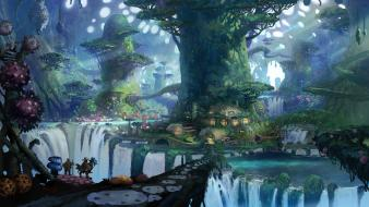 Forests plants fantasy art waterfalls environment cities wallpaper