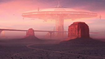 Futuristic desert fantasy art roads science fiction wallpaper