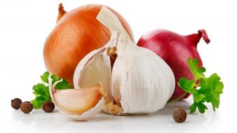 Garlic onions parsley vegetables white background wallpaper