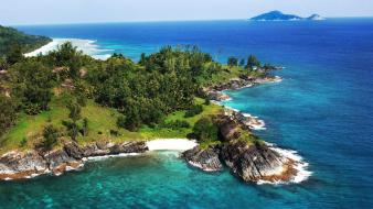 Grove seychelles beaches blue green wallpaper