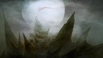 Landscapes moon fog mist flags fantasy art spikes wallpaper