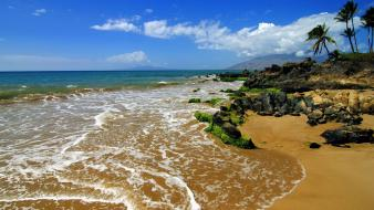 Landscapes nature coast land tropics sea beach wallpaper