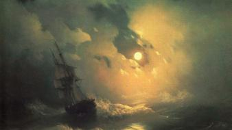 Landscapes night artwork ivan aivazovsky russian sea wallpaper