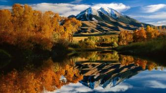 Landscapes trees autumn lakes reflections montana bing Wallpaper