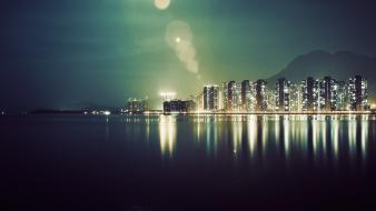 Lights reflections infrared photography night view sea wallpaper