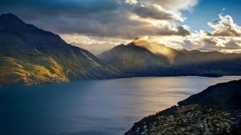 Mountains clouds landscapes nature lakes trey ratcliff queenstown wallpaper