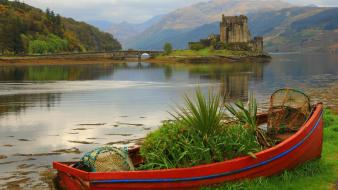 Mountains landscapes castles ruins boats scotland lakes wallpaper